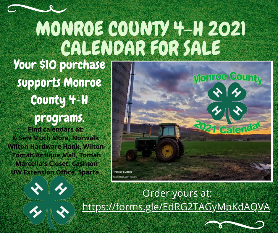 Uw Calendar 2021 GET YOUR 2021 MONROE COUNTY 4 H CALENDAR NOW!   News List   Monroe